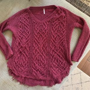 Free people maroon sweater cable knit chunky S